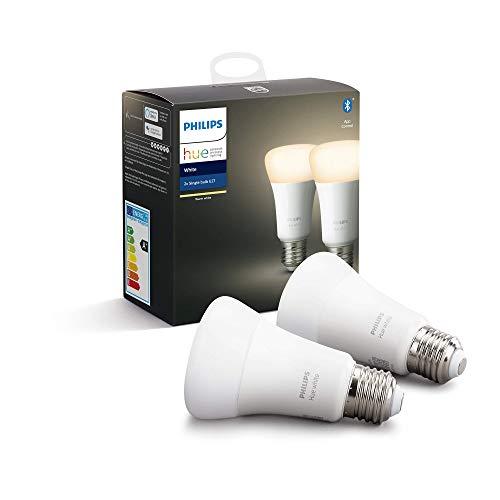 Philips Hue Ampoules LED Connectées Blanc Chaud E27 Compatible Bluetooth, Fonctionne avec Alexa Pack de 2