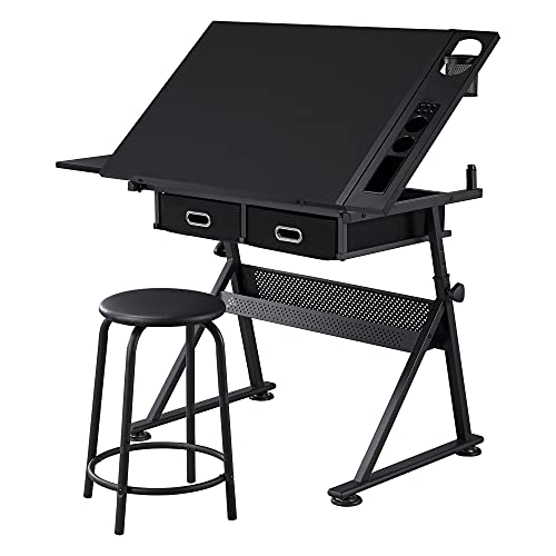 Topeakmart Drafting Table Height Adjustable Drawing Draft Desk Tiltable Tabletop Art Craft Work Station with Extra Retractable Board Table Stool Set for Diamond Painting Sewing Graphic Designere