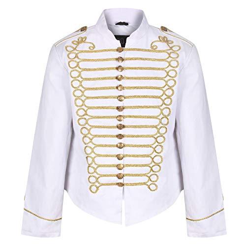 Ro Rox Steampunk Napoleon Military Drummer Parade Jacket - White & Gold (Men's XS) (Apparel)