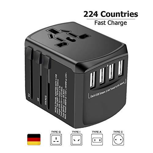 Reiseadapter Reisestecker Weltweit 224+ Ländern Universal Travel Adapter mit USB Internationale Reiseadapter für Europa Deutschland UK Australien USA Asien Thailand China Usw