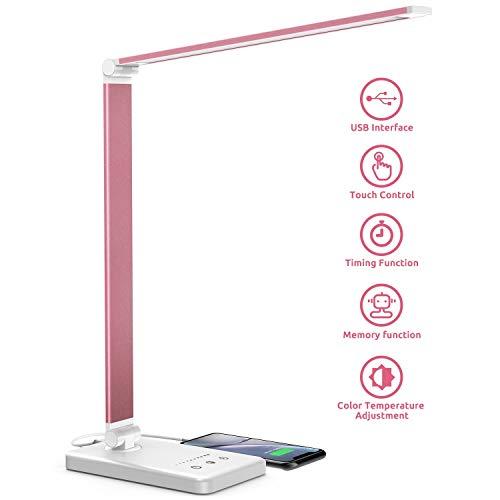 Chesbung LED Schreibtischlampe, dimmbare Tischleuchte, 5 Farb- und 10 Helligkeitsstufen, Touch-Bedienung, faltbar, mit USB-Ladeanschluss und Augenschutz