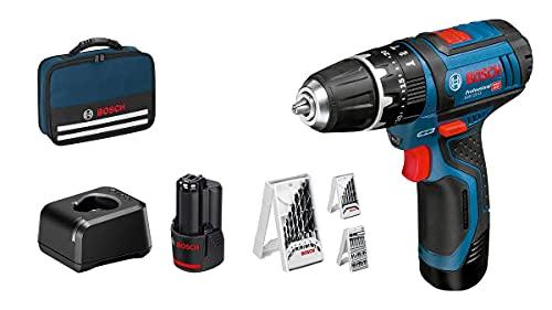 Bosch Professional 12V System Perceuse-Visseuse à Percussion sans Fil GSB 12V-15 (Foret Ø Bois Max : 19 mm, Batterie 2X20 Ah + Chargeur Inclus, 3X Jeu de Forets, dans un Sac) - Amazon Exclusive