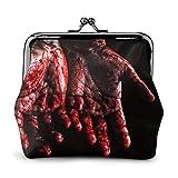 Monederos de cuero con cierre de beso y hebilla de mano llena de sangre, bolsa de cambio, regalo para mujeres