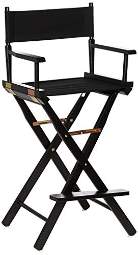 Casual Home Director's Chair ,Black Frame/Black Canvas,30' - Bar Height