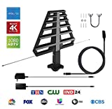 ANTAN Outdoor Antenna with Mounting Base For Attic or Roof & 33FT RG6 Coax Cable- 65-75 Miles Range -Support 8K 4K 1080P UHF VHF Freeview HDTV Channels