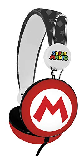 OTL Technologies Casque audio TWEEN pour enfants Super Mario Icon Core (arceau rembourré, volume limité à 85 dB, design coloré, mixte), Rouge/Blanc