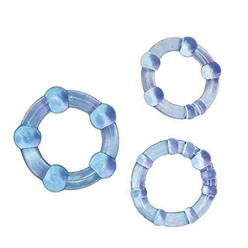 3Pc Perlen schloss feinen ring penis ring verzögerungsring, kristall ring spaß ring drei farbe ring männlich erwachsene ausrüstung (Blau)