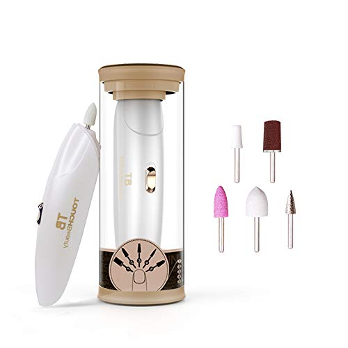 TOUCHBeauty Electric Nail File Drill Buffer Polisher Set with LED Light, 5in1 Professional Manicure Pedicure Set, Fingernail Toenaill Care Tools Cordless Battery Operated Golden TB-1333