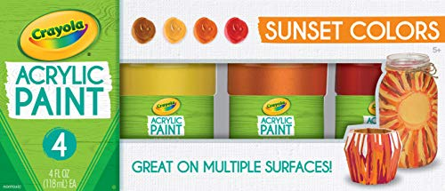 Crayola Paint Set in Sunset Colors, Multi Surface Craft Paints, Painting Supplies, 4 Count