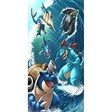 chinawh Serviette de Plage Pokemon Grand Trois Serviettes de Bain en...