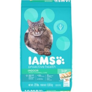 Iams Proactive Health Indoor Weight & Hairball Care Cat Food with Chicken, 22 lb Bag