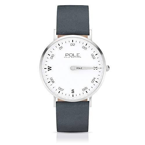 Pole Watches Herren Quarz Analoge Einzeigeruhr in Blau und Lederarmband in Kamel | Modell Compass Livid B-1001AZ-MA04