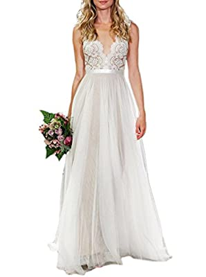 Lace+Tulle+Satin,Sheer Neck,Lined:Champagne color,Tulle:Ivory Color! Perfect for Church Wedding,Wedding Party,Beach Wedding,Special Occasion! NOTE:The dress is Ivory color,because the light,it looks deep! When getting your order,we will contact you t...