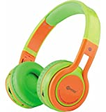Contixo KB-2600 Kids Bluetooth Wireless Headphones | 85db Volume Limiter Limiting, Built-in Microphone Includes AUX Wired Audio Cable Kid Safe for Boys Girls (Green/Orange)