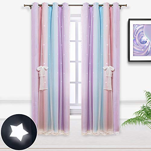Hughapy Star Curtains Stars Blackout Curtains for Youngsters Women Bed room Dwelling Room Colourful Double Layer Star Minimize Out Stripe Window Curtains, 1 Panel (52W x 63L, Pink / Purple)