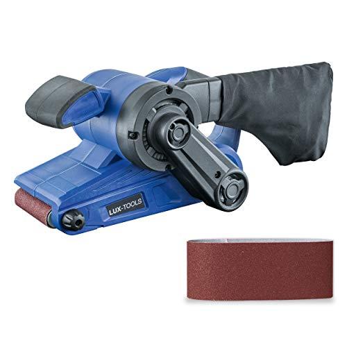 LUX-TOOLS BAS-920 Bandschleifer mit Drehzahlregelung & Staubsaugeranschluss, inkl. Staubbeutel & Schleifband   230V 920W Schleifmaschine mit 533mm x 76mm Schleiffläche