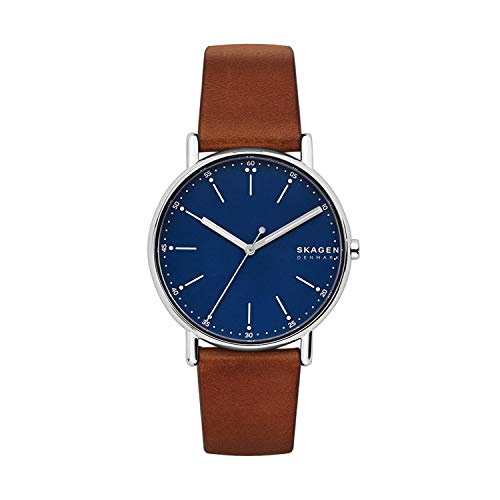 Skagen Men's Signatur Quartz Analog Stainless Steel and Leather Watch, Color: Brown / Blue (Model: SKW6355)