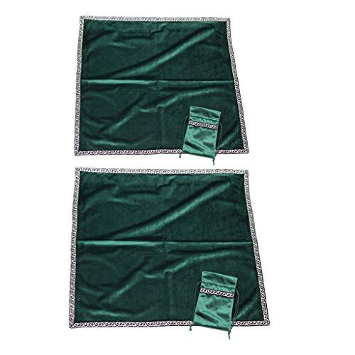 Sharplace 2/4/5 Piezas Mantel de Mesa de Carta de Tarot Estera de Terciopelo de Tarjeta de Constelación de Adivinación - 2pcs Verde