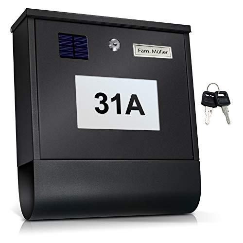 TÄGA TG-2214S Solar Briefkasten anthrazit mit beleuchteter Hausnummer, Automatische Nachtbeleuchtung durch Helligkeitssensor und Akku, Zeitungsfach, Namensschild, Edelstahl