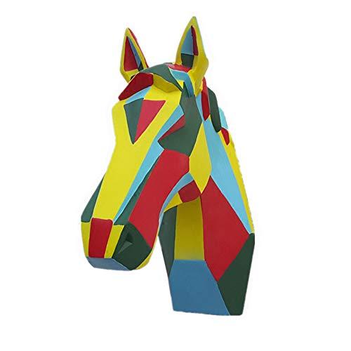 馬の頭の彫刻、馬の胸像の壁掛けカラークリエイティブアニマルトロフィーヘッドオーナメント