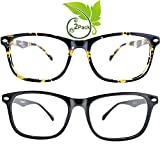 FEIYOLD Blue Light Blocking Glasses Women/Men for Computer Use, Lightweight Anti Eyestrain Gaming Glasses(2Pack)