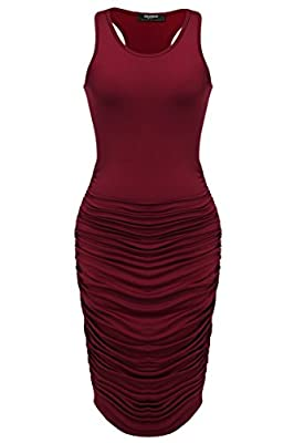 MATERIAL: Polyester and Spandex,Super Soft Micro Fabric, a good amount of stretch, breathable, skin-touch, makes you feeling well. FEATURE:Mid-Calf,pleated design,bodycon slim fit.O-neck long sleeve/sleeveless stretch slim fit ruched design dress.Thi...
