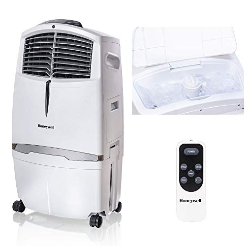 Honeywell 525-790CFM Portable, Fan & Humidifier with Ice Compartment & Remote, CL30XCWW, White Evaporative Cooler, 525 CFM