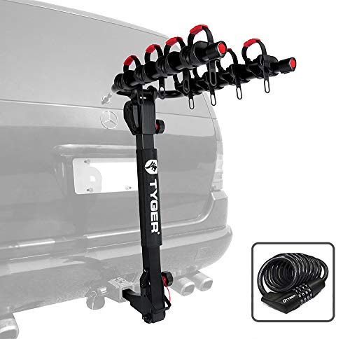 Tyger Auto TG-RK4B102B Deluxe 4-Bike Carrier Rack Compatible with Both 1-1/4'' and 2'' Hitch Receiver   with Hitch Pin Lock & Cable Lock   Soft Cushion Protector