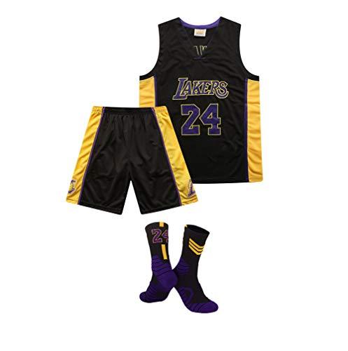 GBY Uniformi da Basket da Uomo e da Donna, Uniforme da Basket Classica Kobe Bryant dei Los Angeles Lakers n. 24, t-Shirt/Pantaloncini Sportivi Ricamati con Scollo a V e Calzini X 1, Black-L