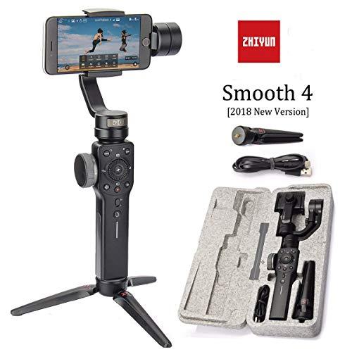 Zhiyun Smooth 4 3-Assi Palmare Stabilizzatore Palmare Per Smartphone Viene IPhone, Samsung. Huawei E GoPro Hero 6 / 5/4/3 (L'Ultima Versione) (Nero)