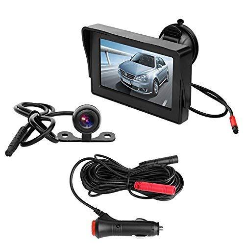 BEST4U Telecamera Auto Retromarcia, 10,9 cm TFT LCD Car Monitor Telecamera retromarcia Impermeabile Visione notturna Telecamera retrovisiva Kit applicare per bus/camion/furgone/camper