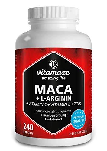 Maca Kapseln hochdosiert 4000 mg + L-Arginin + Vitamine + Zink, 240 Kapseln mit 4000 mg Pulver aus der Maca Wurzel für 2 Monate, Pflanzliche Nahrungsergänzung ohne Zusätze, Made in Germany