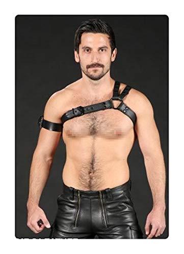 Herren PU-Leder Schulterstütze Brust verstellbare Schnallen Riemen Körper Brustgeschirr