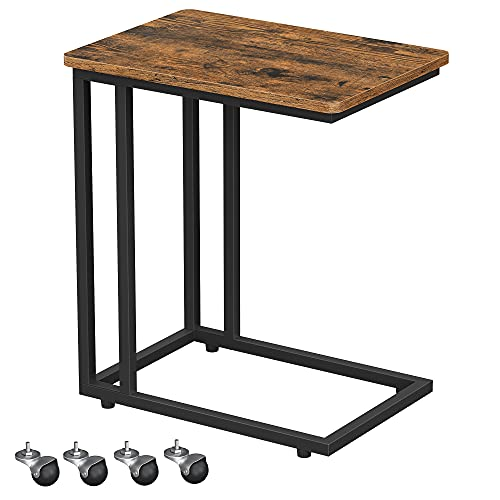 VASAGLE End Table, Side Table, TV Tray, C Shaped Snack Table with Metal Frame, Rolling Casters, Industrial, for Living Room, Bedroom, Rustic Brown and Black ULNT50X
