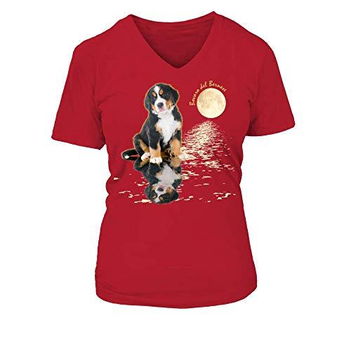 TEEZILY T-Shirt Collo a V Donna Cuccio di Bovaro Illuminato dalla Luna - Rosse - XXL