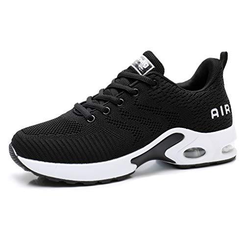 AFFINEST Zapatos para Correr para Mujer Air Zapatillas de Running Ligero y Transpirable Sneakers y Asfalto Aire Libre y Deportes Calzado Negro B 37