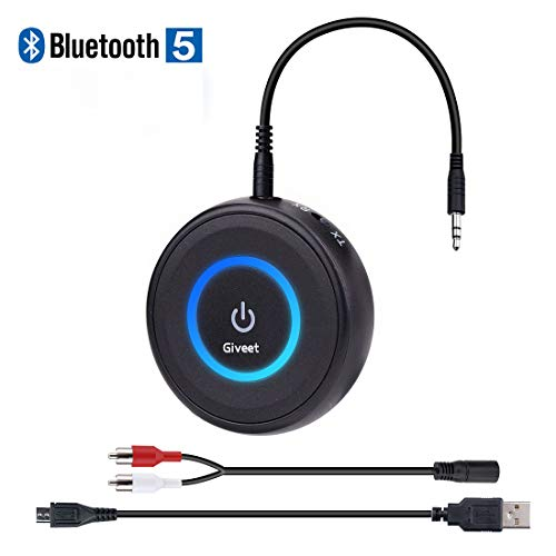 Giveet Bluetooth V5.0 Transmitter and Receiver with Low Latency, Wireless Bluetooth Audio Streaming Adapter for TV, PS4, Xbox, PC, Headphones, Home Sound Car Stereo Speaker with 3.5mm or RCA Jack