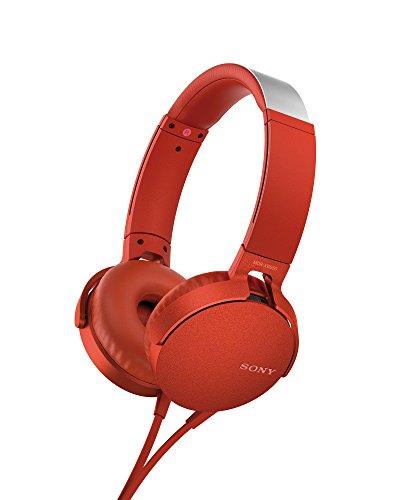 Sony MDR-XB550AP - Cuffie on-ear EXTRA BASS con microfono, Archetto regolabile, Rosso
