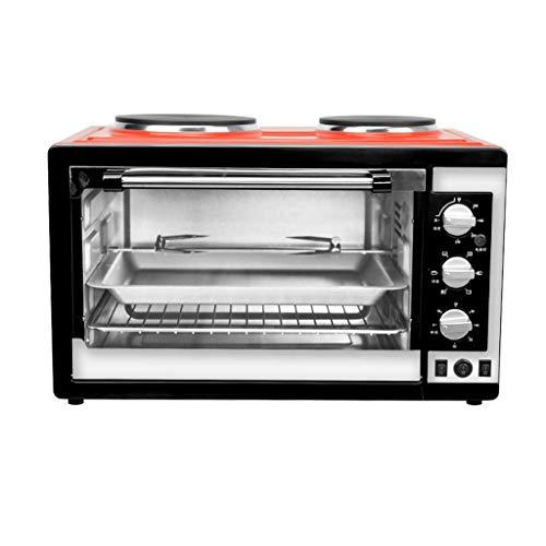 ZJDK 38L Mini-Ofen mit Herd und Grill Elektroherd 2000W Einstellbare Temperatur 50-250 ° C und 60-Minuten-Timer mit 6 Heizfunktionen Edelstahl zum Backen von Grill