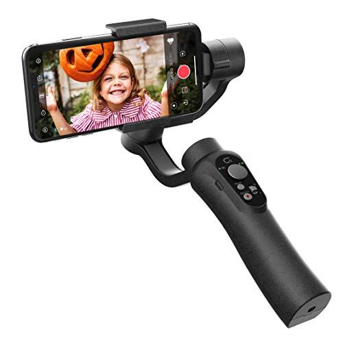 CINEPEER C11 Stabilizzatore Smartphone, Controllo zoom integrato, gimbal cardanico palmare a 3 assi per iPhone, Android, Vlog, Registrazione video live