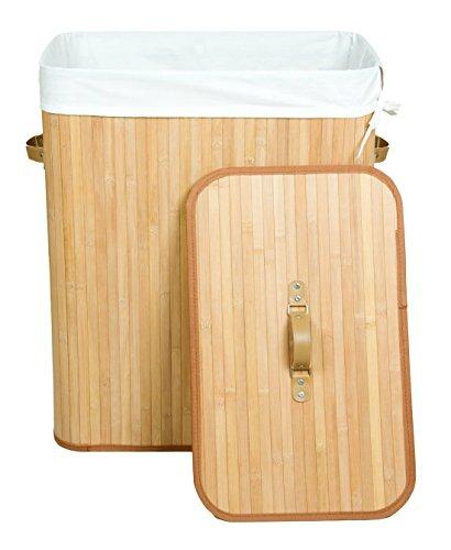 Kronenburg Bambus Wäschekorb mit Deckel, Fassungsvermögen 100 L - 62,5 x 52 x 32 cm, Schwarz - Farb-/Modellwahl