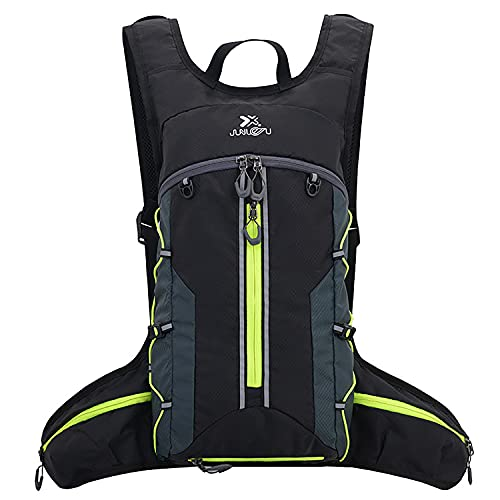 MonoTele Running Backpack, Hydration Backpack Bike Backpacks Waterproof Lightweight Cycling Backpack Hydration Packs for Men & Women Jogging, Hiking,Running,Climbing,Camping(Black+Green)