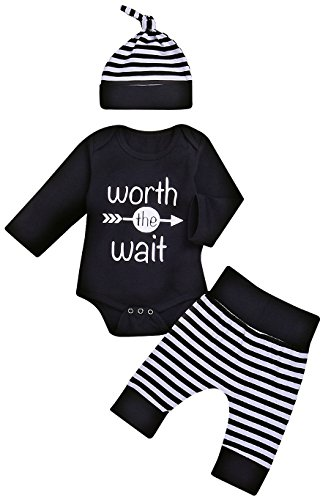 Baby Unisex Worth The Wait Arrow Printed Romper Striped Pant Hat...