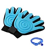 Nareo [Upgrade Version] Pet Grooming Glove - Hair Remover Glove - Deshedding Glove - for Cats & Dogs - 1 Pair Left & Right(Blue)