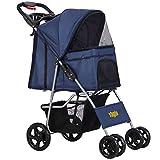 VIAGDO Dog Stroller, Pet Strollers for Small Medium Dogs & Cats, 4 Wheels Dog Jogging Stroller Folding Doggy Stroller with Storage Basket for Dog & Cat Traveling Strolling Cart (Blue)