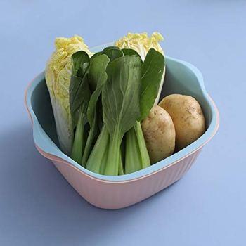 XGQ 5 PCS Ménage créatif Salon à Deux Couleurs Panier de vidange Cuisine Multi-Fonction Double Fruit Basket de légumes, Taille: S (Rose Bleu) (Color : Pink Blue)