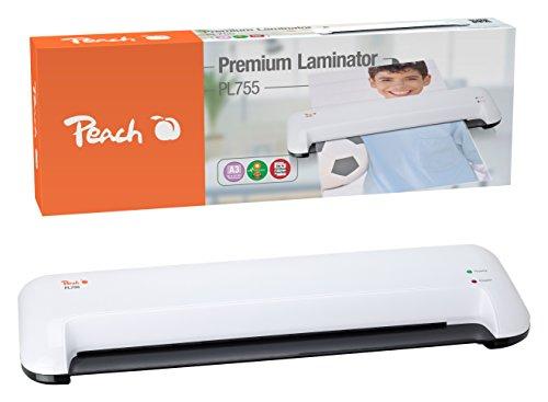 Peach PL755 Laminiergerät DIN-A3 , schnell startklar , geeignet für handelsübliche Folien , 1½ Seiten pro Min. , inkl. 10 Laminierfolien , Heiß und Kalt laminieren