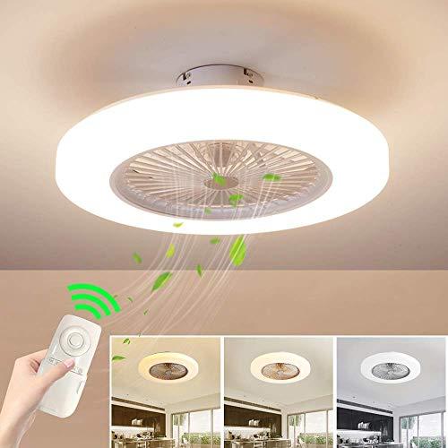 Deckenventilator mit Beleuchtung, Fan Deckenventilator LED Licht, Einstellbare Windgeschwindigkeit, Dimmbar mit Fernbedienung, 36W Moderne led Deckenlampe für Schlafzimmer Wohnzimmer Esszimmer (White)