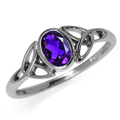 Silvershake Natural African Amethyst White Gold Plated 925...
