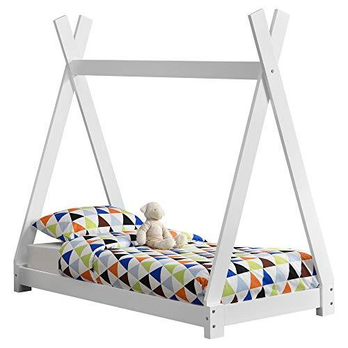 [en.casa] Kinderbett 70x140cm Weiß im Tipi Design aus Kiefernholz Jugendbett Bett Holzbett Hausbett